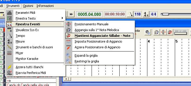 Effettuare la sincronizzazione - Finestra in sillabe ...